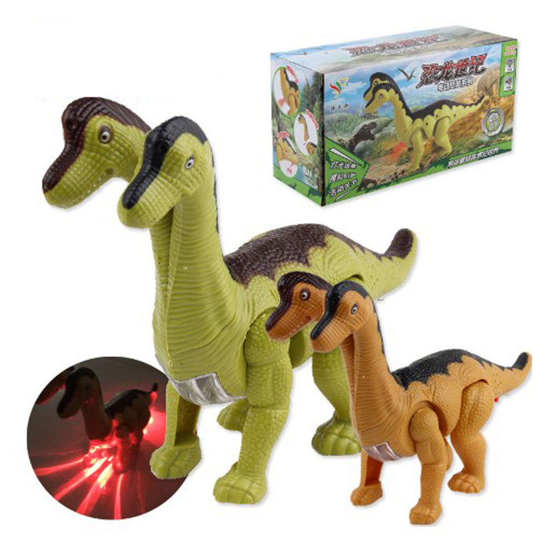 New-double-headed Electric Walking Dinosaur Toys Glowing Dinosaurs With Sound Animals Model For Kids Children Interactive Toys