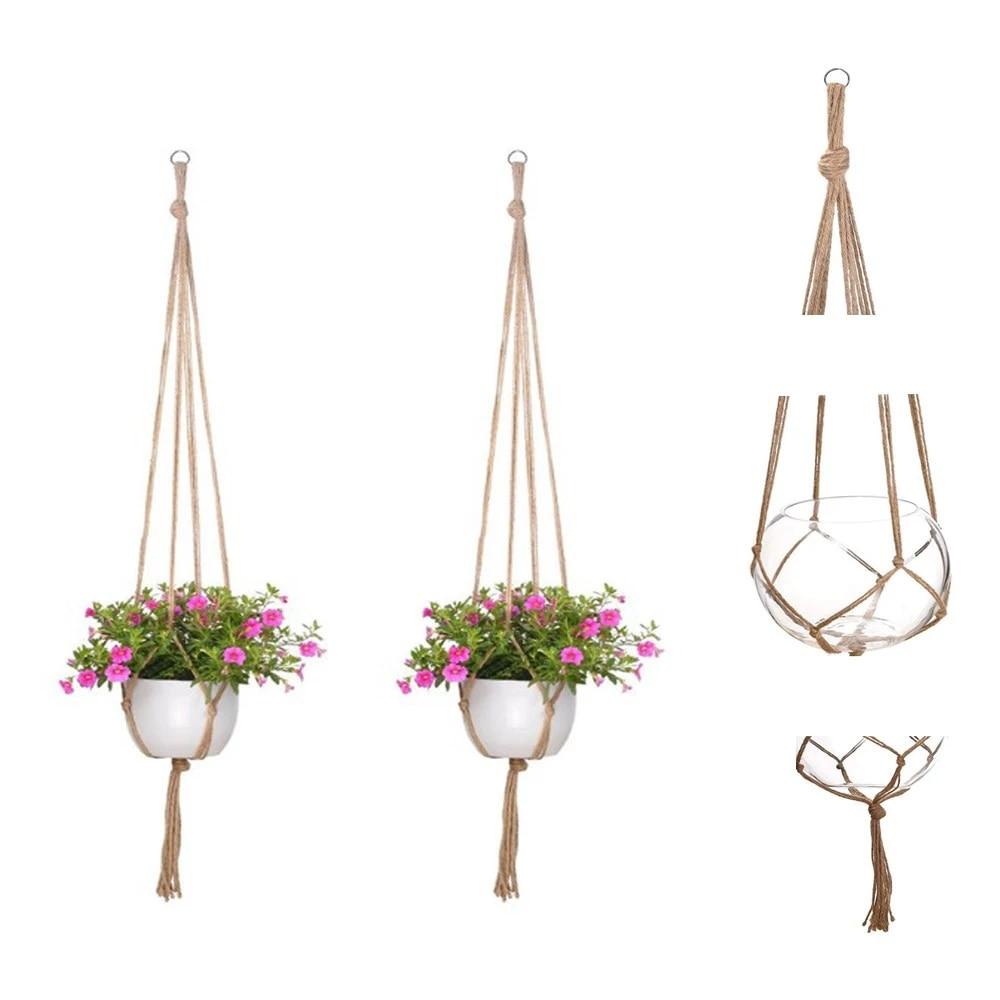 Garden Plant Hanger Hanging Planter Basket Jute Rope Flower Pot Holder Decor