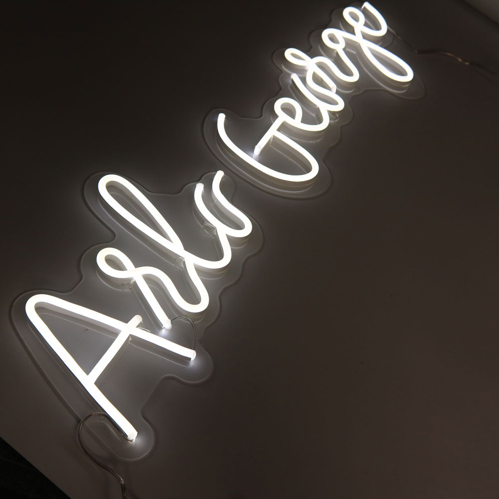 Affordable White Natty Neon Word Lights Signs Flexible Neon Letters With Clear Acrylic Backpanel For Wall