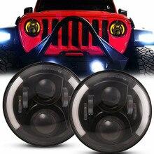 Phares noirs de 7 pouces pour Jeep Wrangler Mazda Miata MX5, 2 pièces, feux de direction pour Lada 4x4 Urban Niva H4 Halo Angel Eye DRL