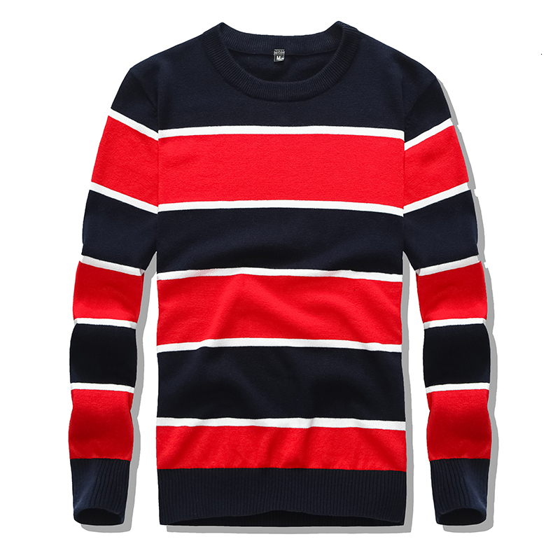 Warm Sweater Pullover Striped Men's O-Neck Sweaters 100% Cotton Long-sleeved Hot Autumn And Winter Models Casual Men's Inside