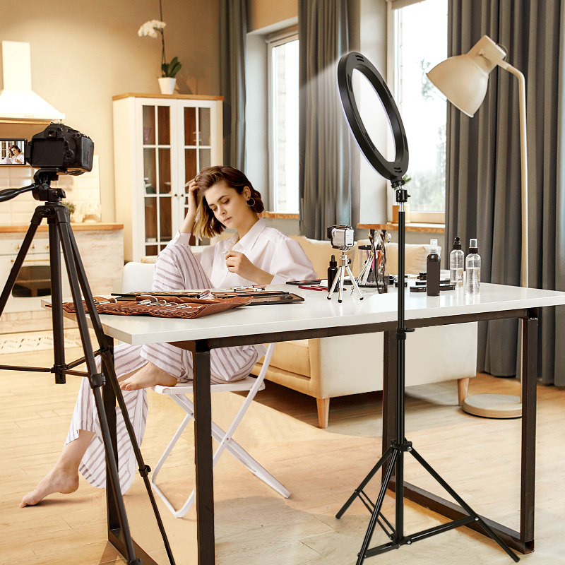 """H62e8073d7c274f4f929a4f76344b82158 PYNSSEU 26cm LED Ring Light with 1.1/1.6/2.0M Light Ring Stand Dimmable 10"""" Selfie Ring Lamp with Phone Clip for Youtube Makeup"""