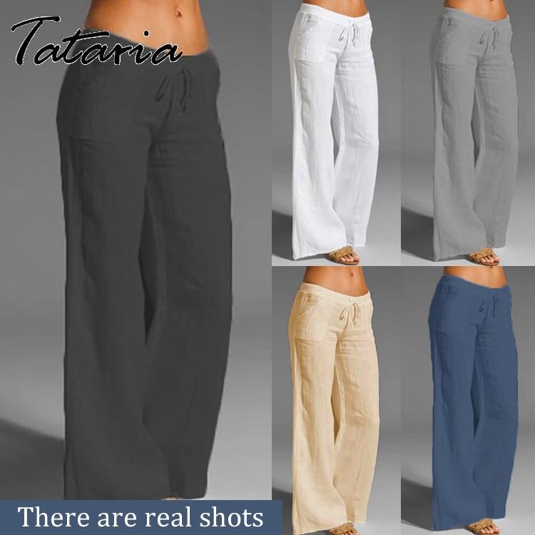 Женские хлопковые брюки, серые шаровары с высокой талией, свободные, мягкие, с эластичной резинкой на талии, белые летние штаны, синие, повсе...