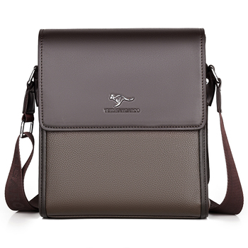 YUES KANGAROO Brand Men Messenger Bag Leather Shoulder New Business Briefcase Casual Crossbody For IPAD Bolsas Male
