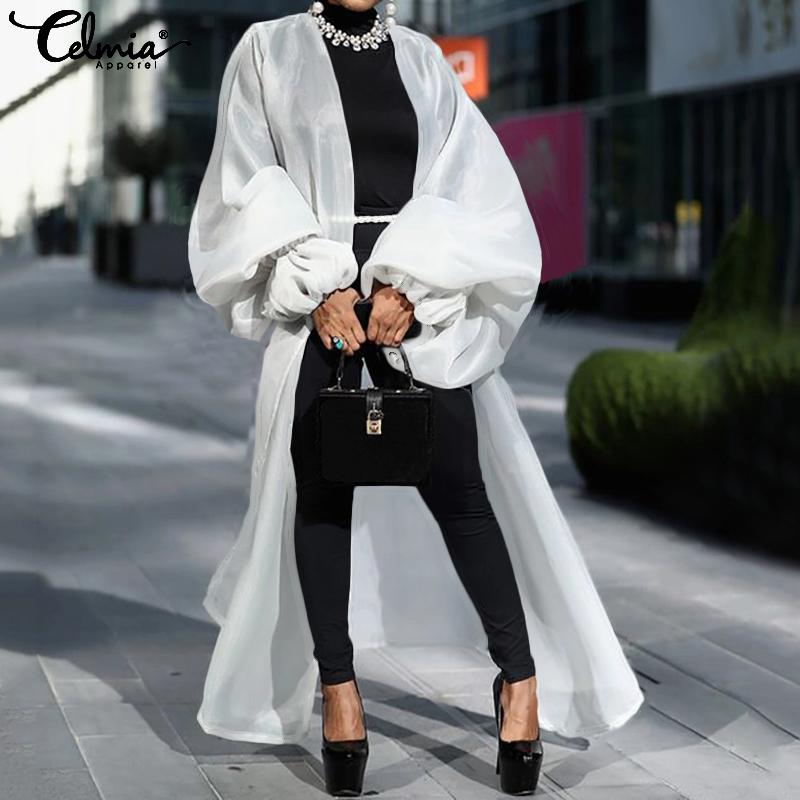 Fashion Blouse 2019 Celmia Women Long Kimono Cardigans Lantern Sleeve Casual Shirts Female Loose Beach Cover Up Oversized Tops