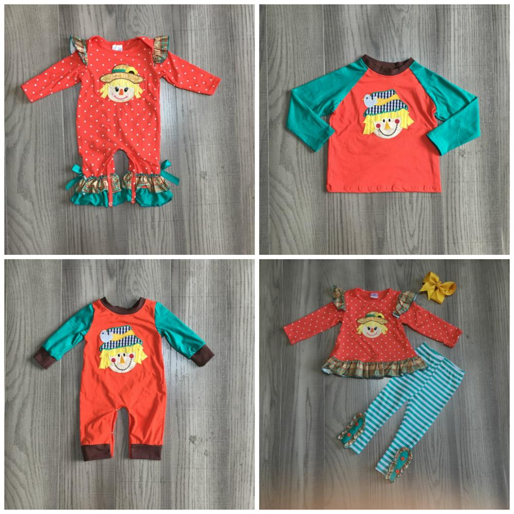 Girlymax fall/winter baby girls boys orange jade scarecrow outfits pants sey top raglans romper ruffles match bow family look 1
