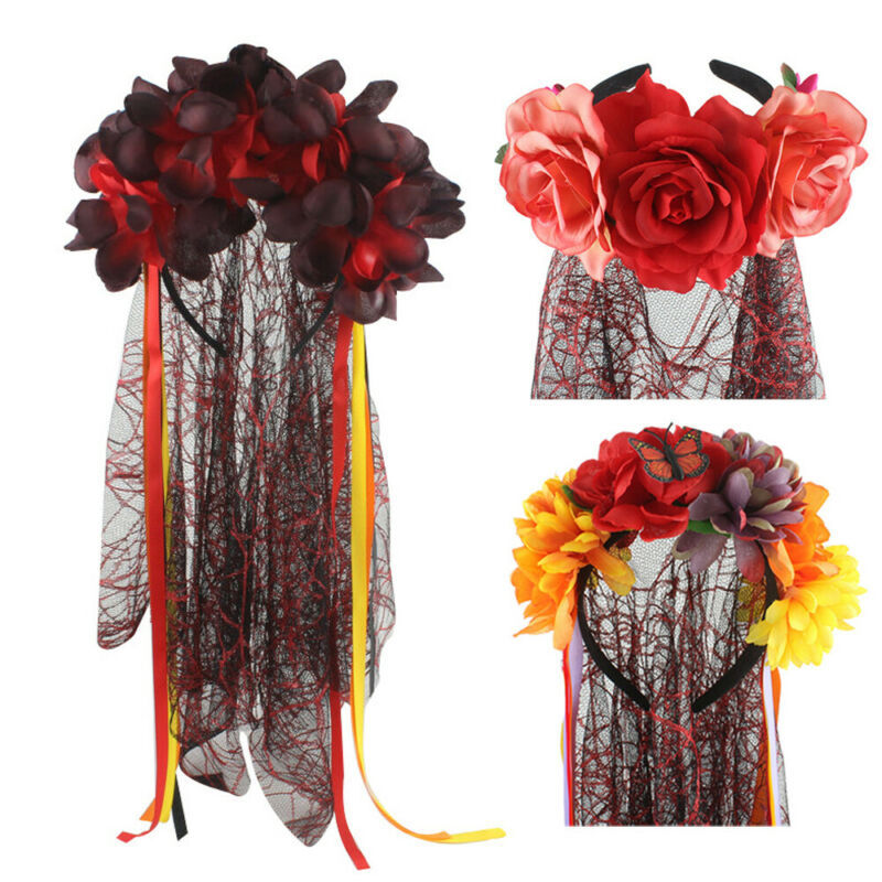 Hot Women Headwear Halloween Fancy Holiday Day Of The Dead Veil Corpse Bride Roses Mexican Dress Accessory Hair Sticks