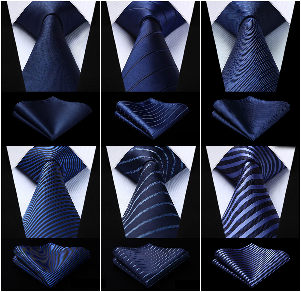 Men's Woven Silk Ties Pocket Square Set Striped Navy Blue Jacquard Necktie Handkerchief Set  Party Wedding