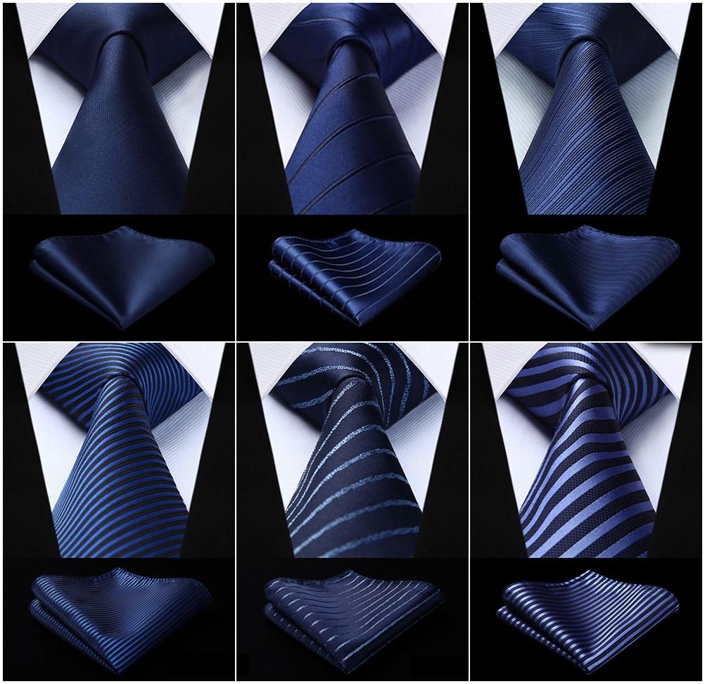 Men's Woven Silk Ties Pocket Square Set Striped Navy Blue Jacquard Necktie Handkerchief Set  Party Wedding