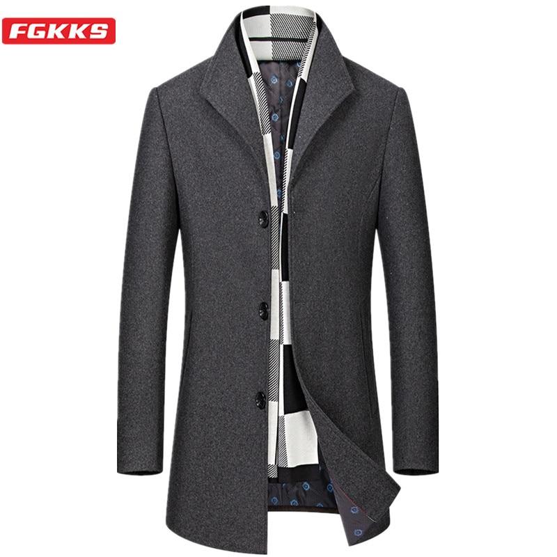 FGKKS Men Wool Blend Coat Winter New Men's Casual Wild Wool Overcoat Quality Brand Male Solid Color Wool Coat (Send scarf
