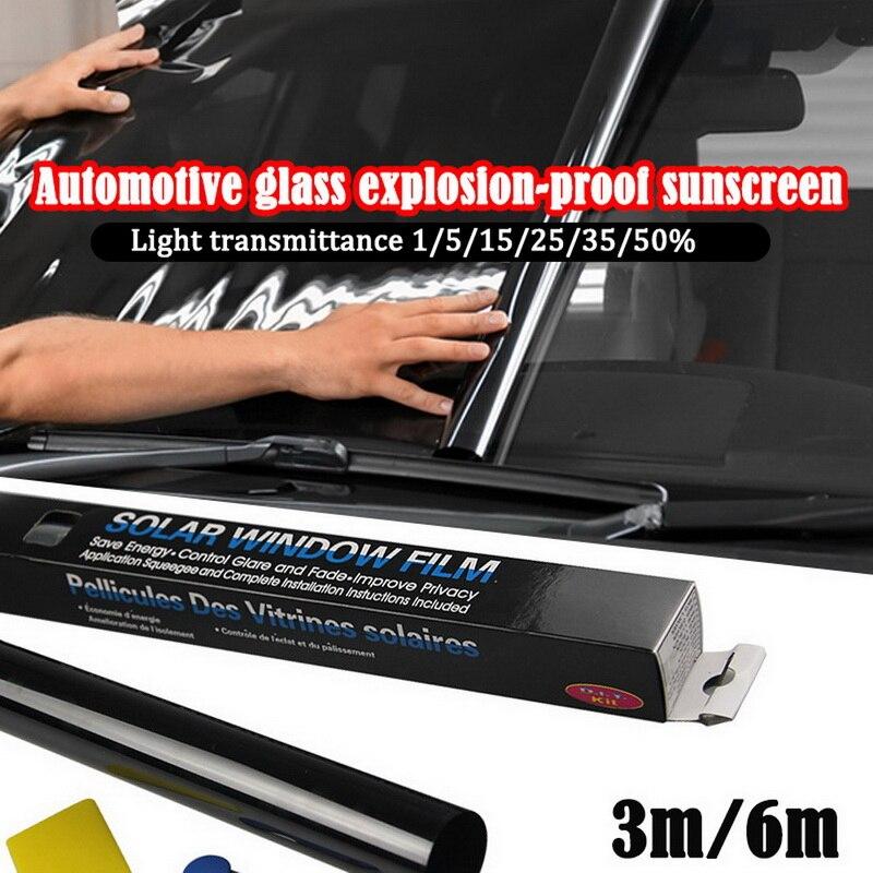 0.5X3.0M 5% 25% 50% รถยนต์Auto Homeกระจกหน้าต่างย้อมสีม้วนฟิล์มScraperหลังคารถฟิล์มกระจก