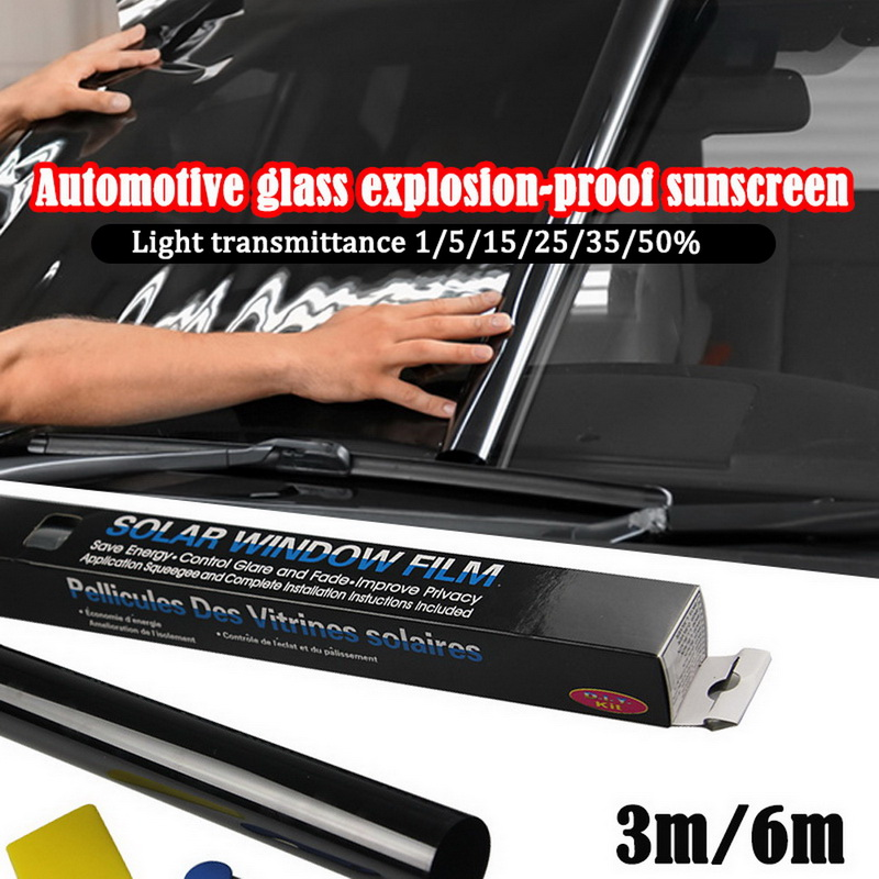 0.5x3.0M/0.5x6M 5% 25% 50% voiture accessoires Auto maison verre fenêtre teinte teinte teinte Film rouleau grattoir voiture toit fenêtre teinte Film verre