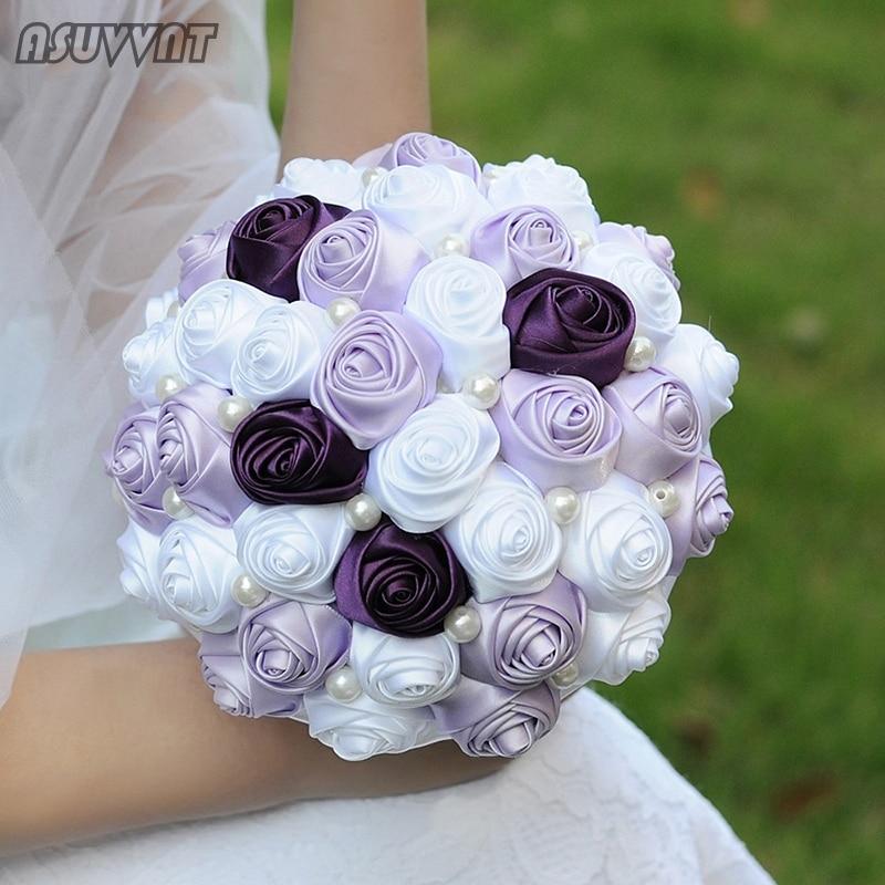 Noble Wedding Bouquet  Lavender Rose Pearl Flower Bouquet Artificial  Pearl Bridesmaid Bridal Bouquet For Party Wedding Dress Up