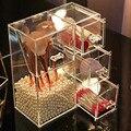 Прозрачный акриловый ящик для хранения ювелирных изделий для макияжа пылезащитный косметический Органайзер с крышкой ящика многофункцион...