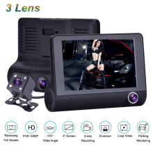 "4"" 1080P Car DVR 3 Cameras Lens Dash Camera Full HD Dual Video Recorder With Rearview Auto Monitor Registrar"