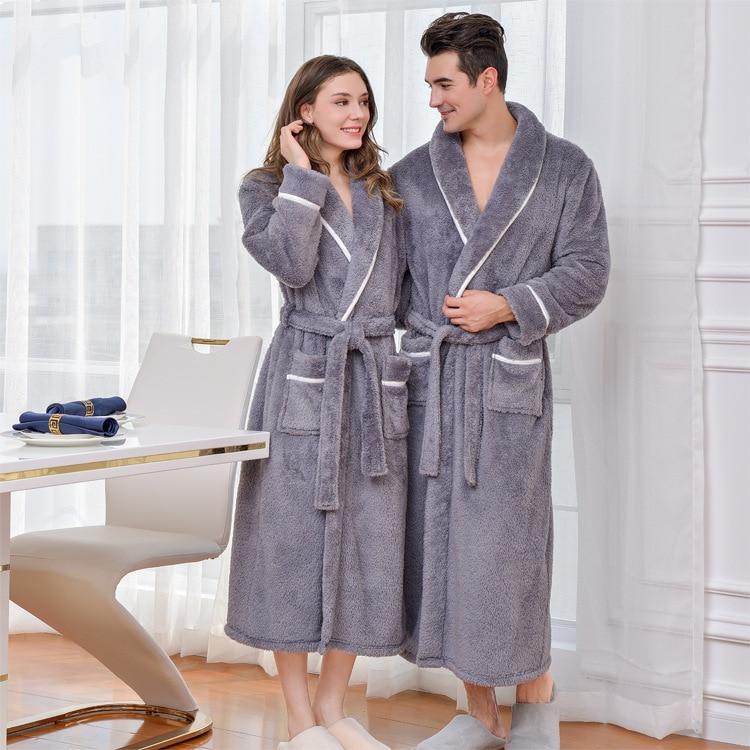 Warm Coral Fleece Men Kimono Gown Robe Winter Warm Lovers Sleepwear Nightdress Soft Solid Men Bathrobe Gown Intimate Lingerie