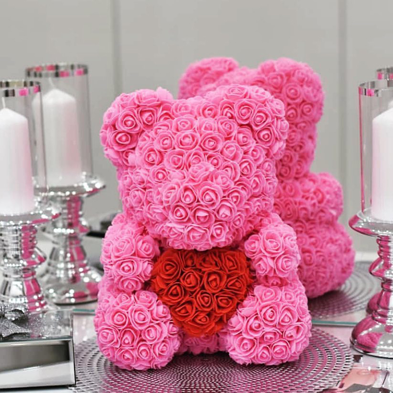 Hot 40cm Artificial Rose Heart Teddy Bear Handmade Bear of Roses For Women Valentine's Day Wedding Bithday Gift Drop Shipping