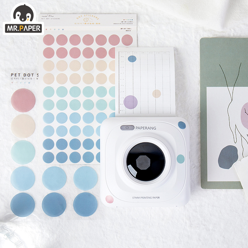 Mr.paper 7 Designs 3Pc Color Dot PET Sticker Scrapbooking Planner Laptop Japanese Cycle Toy Cool Doodling Decorative Stationery 6