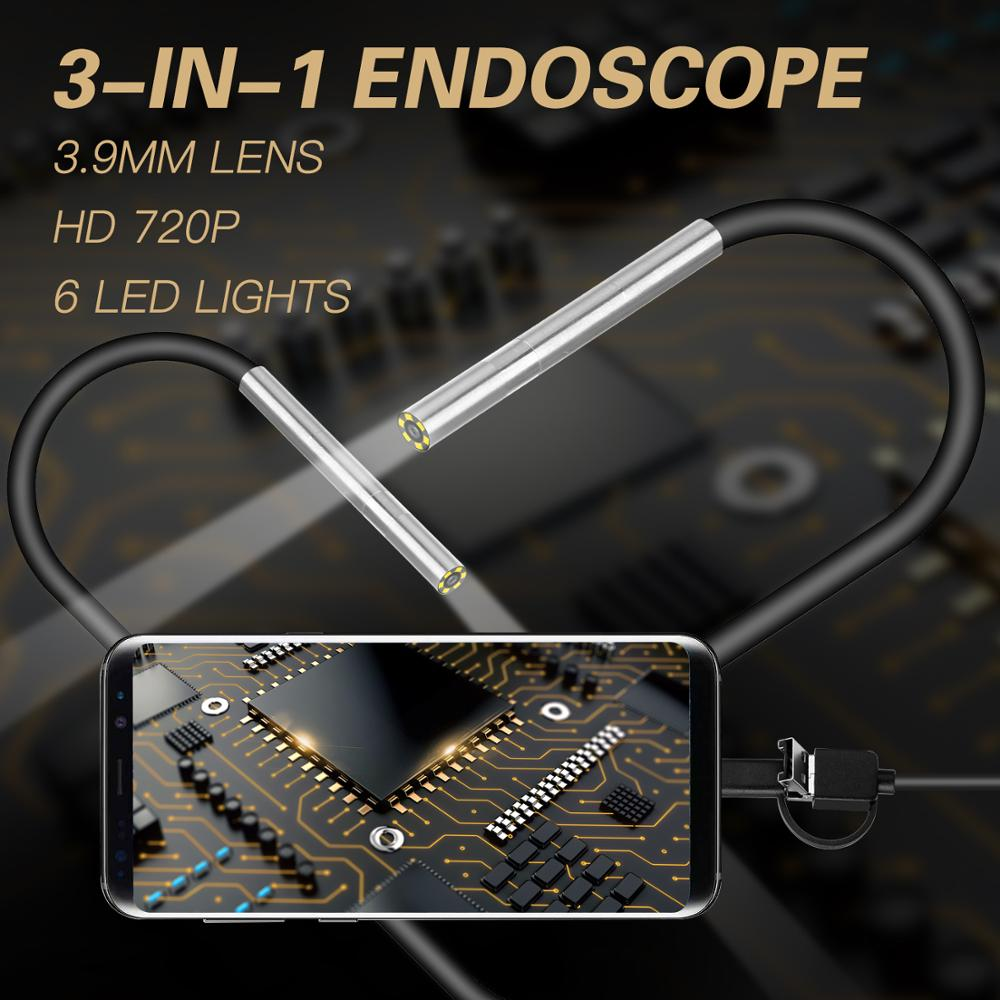 3.9mm Endoscope Camera Tiny Lens Android Endoscope 6 LED Micro USB Type C 3 in 1 Waterproof Inspection For Android PC Borescope image