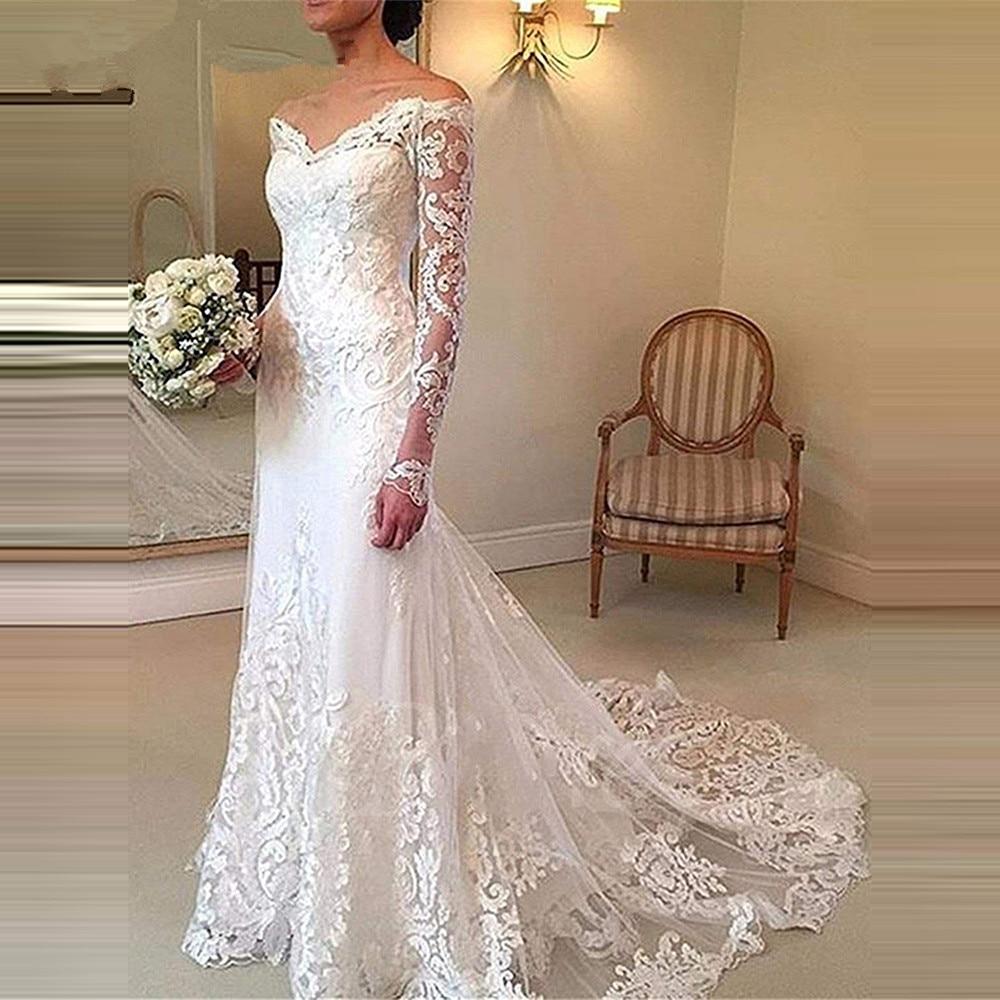 V-Neck Lace Wedding Dress Long Sleeves Appliques Lace Mermaid Dresses Bridal Gown Party Prom Vestido De Novia 2020 Latest Design