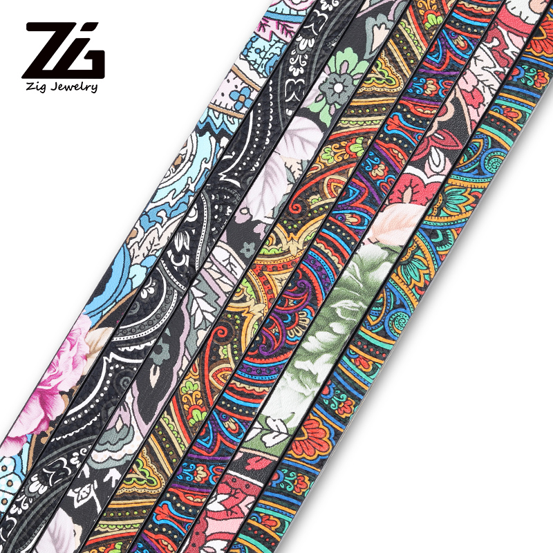 Wide Bracelet Handbag Production Material 10mm Hip-hop Style Pattern Pu Leather Jewelry Discovery Material