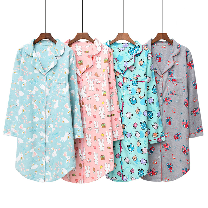2019 Spring Long Nightgown Large Size Long Sleeve Pajamas Pure Cotton Flannel Nightgown Plus-sized Women's Home Wear