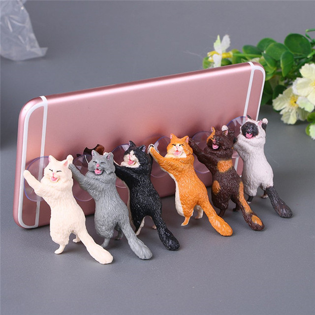 1pc Cat Figurine Miniature Cat Sucker Design Phone Holder mini fairy garden Cartoon statue craft Home Car Decorative 1