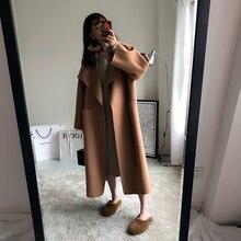 Nuove Donne di Lana Lungo Cappotto di Autunno di Inverno del Cachemire Fessura del Lato Grande collo di Turn giù il Collare Caldo Cappotti Cammello Nero Grigio colore