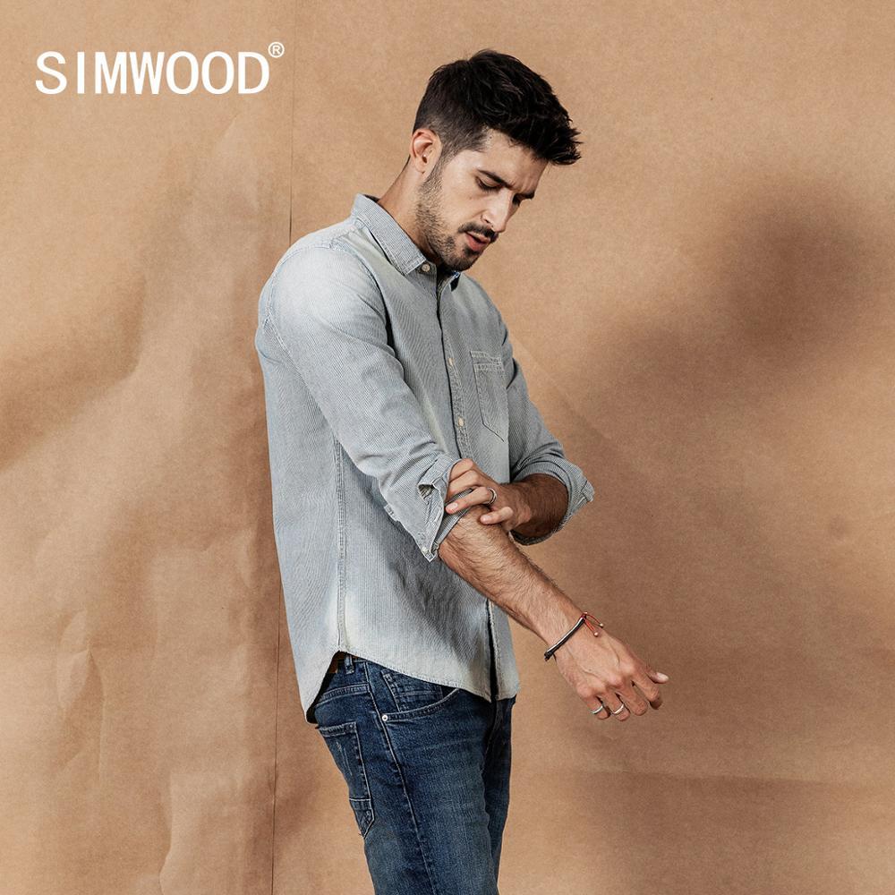 SIMWOOD Vintgae Striped Shirts Men Fashion Retro 2020 Spring New 100% Cotton Shirt Button-Down Collar Plus Size Shirts 190401