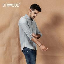 Simwood vintgae listrado camisas masculinas moda retro 2020 primavera nova 100% camisa de algodão botão para baixo colarinho mais camisas tamanho 190401