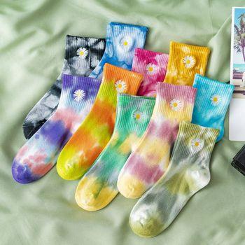 Daisy Tie-Dye Cotton Socks Men's Fashion Casual Sports Hip-Hop Harajuku Street Clothing Comfortable Breathable Unisex35-43 - discount item  36% OFF Men's Socks