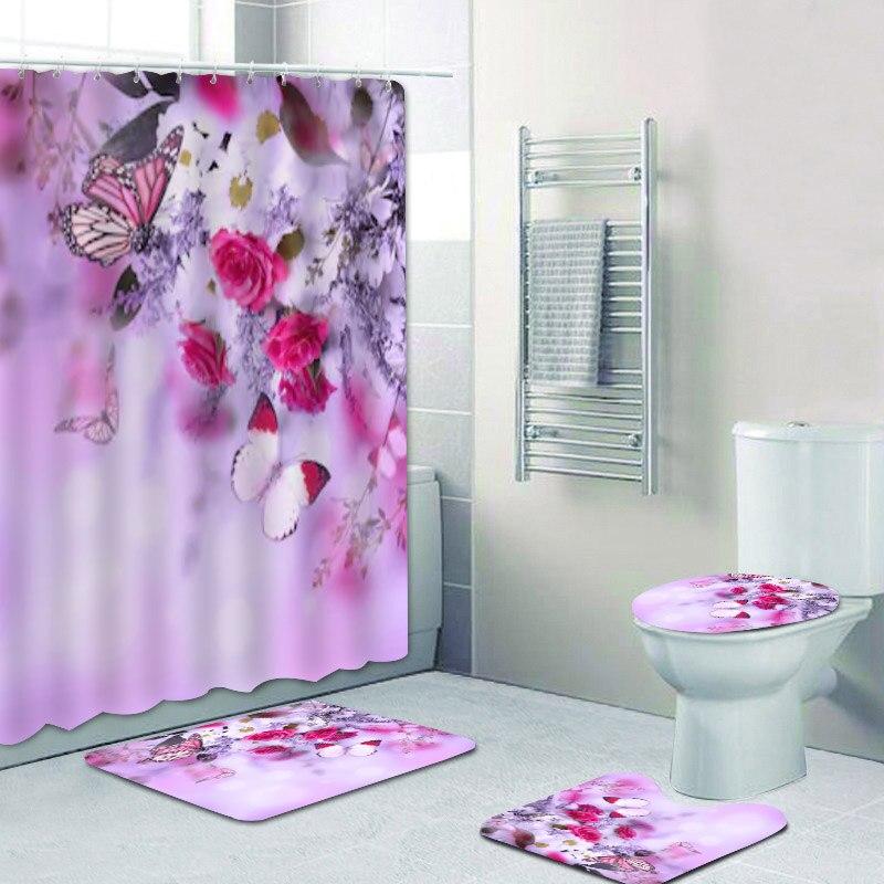 Bathroom Flowers Bath Mat Rug Carpet, Flower Bathroom Sets