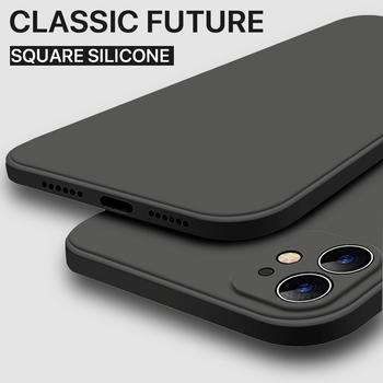 Luksusowy Orignal kwadratowy brzeg miękki płynny silikonowy pokrowiec na iPhone 12 11 Pro XS Max iPhone 12 mini x xr 7 8 Plus se 2020 tylna okładka tanie i dobre opinie PUGB CN (pochodzenie) Aneks Skrzynki Classic Square edge Soft Silicone Case For iphone Apple iphone ów Iphone 6 Iphone 6 plus