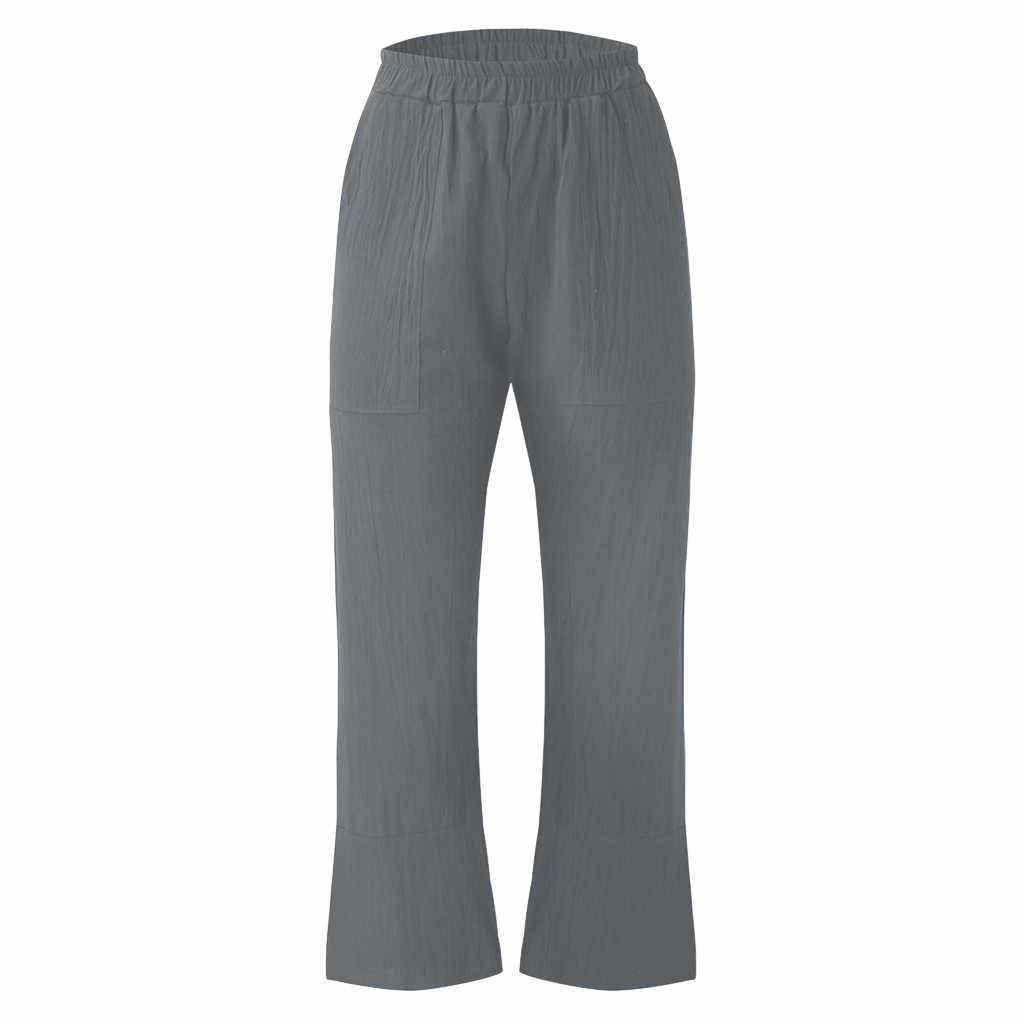 Harem Pants Trousers Streetwear women's plaid loose harem Nine pants The Fashion Women's Casual Pockets Solid Cotton Pants GH50