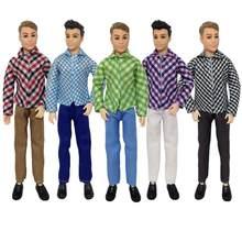 1 conjunto ken roupas xadrez camisa jaqueta calças jeans ken boneca terno casual usar terno diário para 12 30 30 30cm ken boneca acessórios