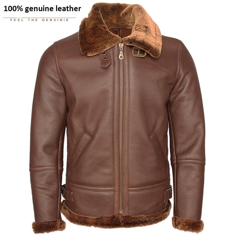 Super Quality Classical Men Shearling Coat Thick 100% Sheep Fur Coat Man Leather Coat Warm Winter Clothing Male Overcoat M444