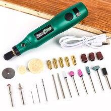 Usb kit de ferramentas rotativas sem fio carpintaria caneta gravura diy para jóias metal vidro mini broca sem fio com dremel acessórios