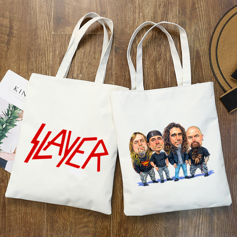 Slayer Heavy Metal Thrash Rock Speed Metal Band Tote Bag Unisex Canvas Bags Shopping Bags Printed Casual Shoulder Bag Foldable