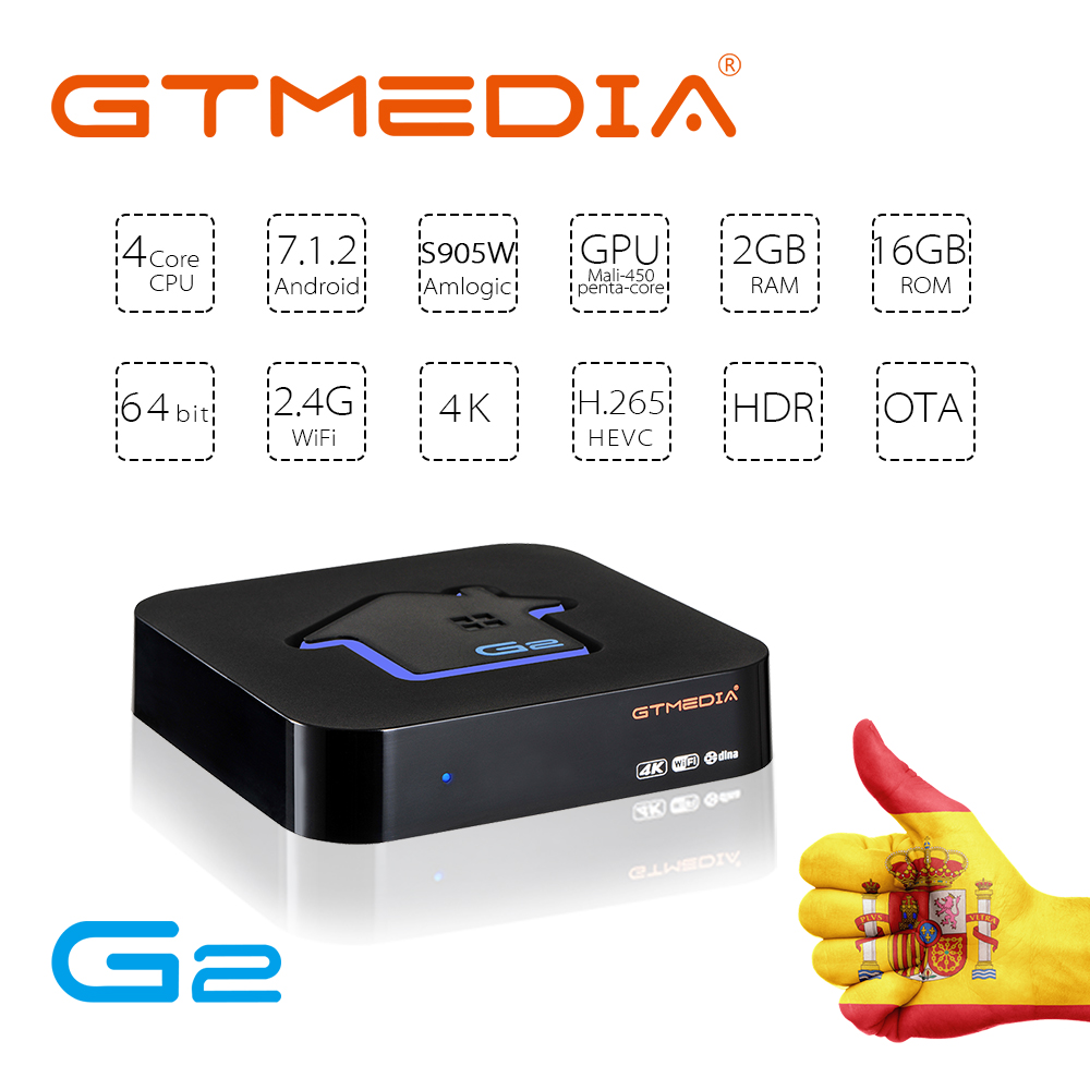 GTmedia G2 Amlogic S905W Android 7.1 TV Box 2GB 16GB Built In 2.4G WiFi 4K HD Media Player TV Box Support IPTV GTplayer TV Box