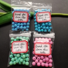 50pcs/lot  6mm Full Drilled Synthetic  Round Opal Beads  Round Ball Fire Opal Stone for DIY Jewelry