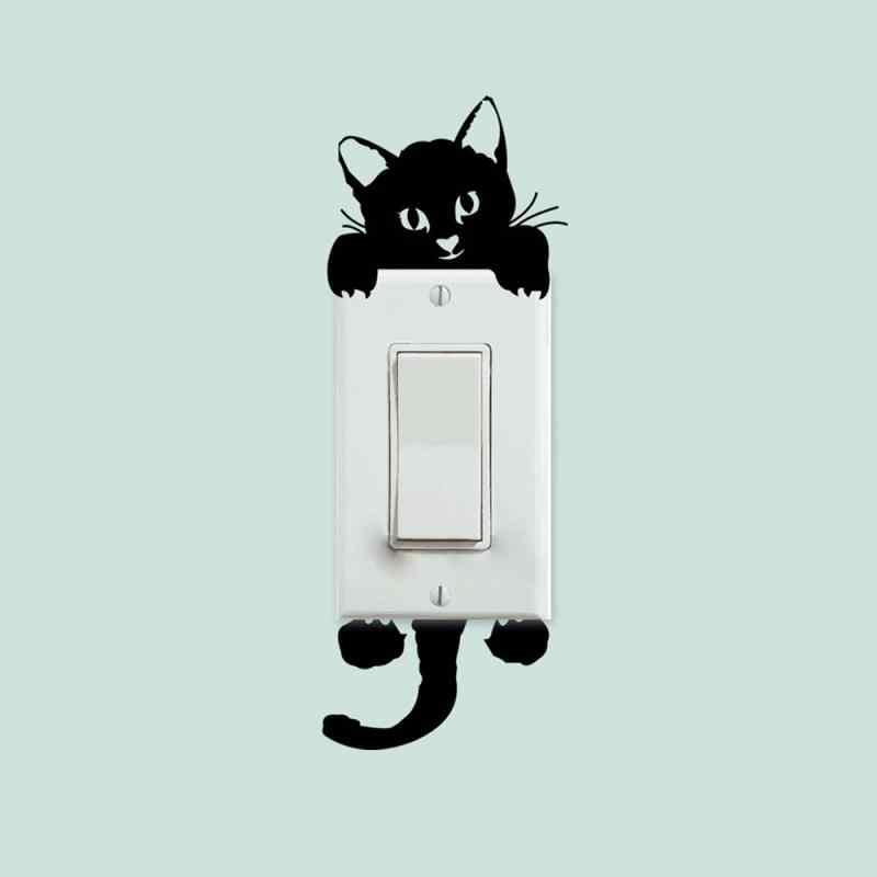 Lustige Nette Katze Hund Schalter Aufkleber Wand Cartoon Leuchtenden Schalter Aufkleber Glow In The Dark Wand Hause Schlafzimmer Parlor Dekoration