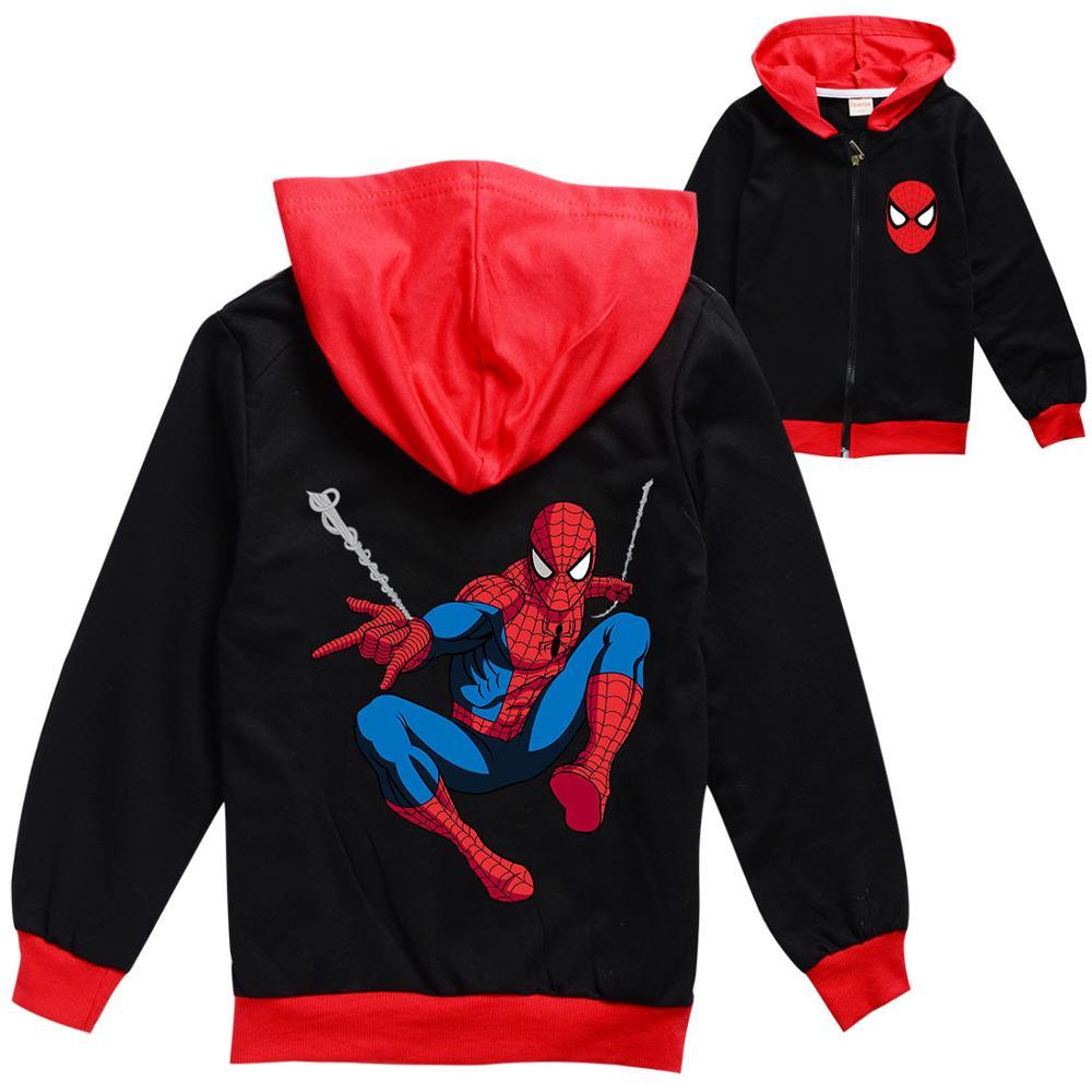 Disney criança menino menina outono roupas 2020 novo spiderman anime crianças zip moletom com capuz dos desenhos animados topos harajuku meninas casaco