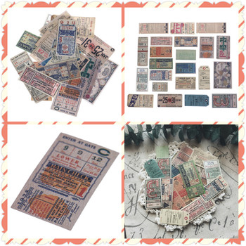 22pcs/Pack DIY Scrapbooking Planner Photo Diary Album Sticker Vintage Tickets Old Peper Bill Decorative Sticker Toys image
