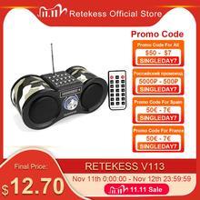 Retekess V113 FM 라디오 스테레오 디지털 라디오 수신기 스피커 MP3 음악 플레이어 USB 디스크 TF 카드 위장 + 원격 제어