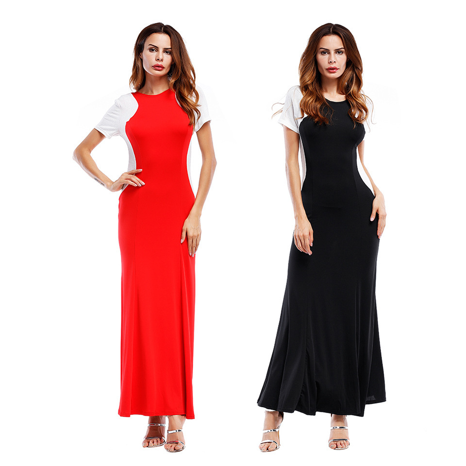 2017 Europe And America New Style Hot Solid Color Double Color Splicing Dress Sheath Slim Fit Long Skirts
