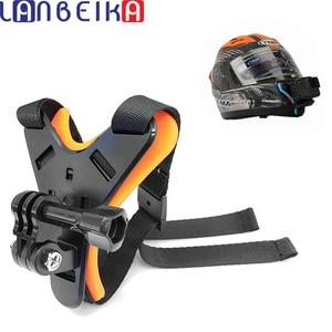 Image 1 - Lanbeika Full Face Helm Kin Mount Houder Motorhelm Chin Stand Voor Gopro Hero 9 8 7 6 Sjcam Dji osmo Camera Accessoire