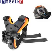 Lanbeika rosto cheio capacete queixo montar titular capacete da motocicleta queixo suporte para gopro hero 9 8 7 6 sjcam dji osmo câmera acessório