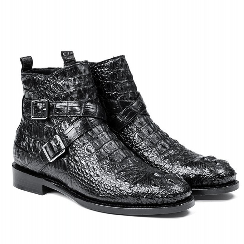 Luxury Brand Crocodile Leather Shoes Men Autumn Zip Flat Ankle Boots British Style Black Office Genuine Leather High-Top Boots