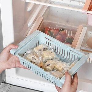 Kitchen Organizer Adjustable Kitchen Refrigerator Storage Rack Fridge Freezer Shelf Holder Pull-out Drawer Organiser Space Saver
