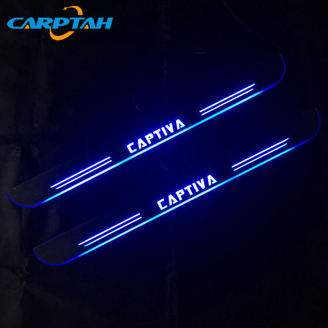 كاربتاه تقليم سيارة بدواسات الأجزاء الخارجية LED صفائح لعتبة باب السيارة مسار ديناميكية غاسل ضوء لشروليه كابتيفا 2011   2015